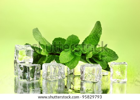 Fresh mint leaf and ice cubes with droplets on green background - stock photo