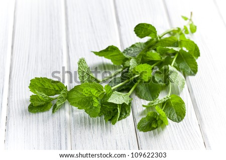 fresh mint leaves on kitchen table - stock photo