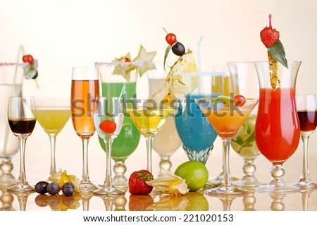 Fresh mixed cocktails - stock photo