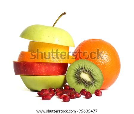 Fresh mixed fruit diet - stock photo
