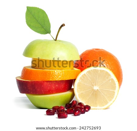 Fresh mixed fruit diet isolated - stock photo