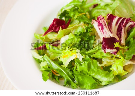 fresh mixed salad leaves - stock photo