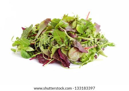 fresh mixed salad leaves over white background - stock photo