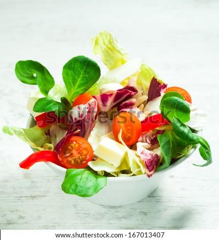 fresh  mixed salad on a bowl - stock photo
