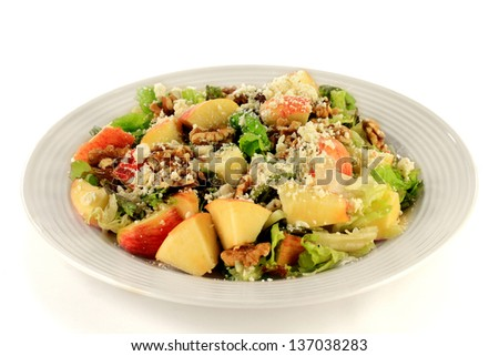 Fresh mixed salad prepared from Chopped Fresh Organic Lettuce and Apples seasoned with Walnut Halves and Feta cheese served in gray plate over white background. - stock photo