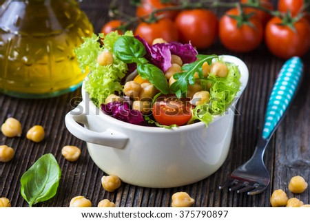 Fresh mixed  salad with Chickpea - stock photo