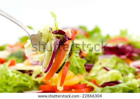 fresh mixed vegetable salad studio shots - stock photo