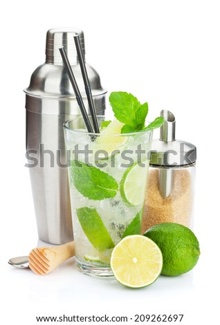 Fresh mojito cocktail and bar utensils. Isolated on white background - stock photo