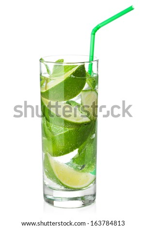 fresh mojito cocktail isolated  - stock photo