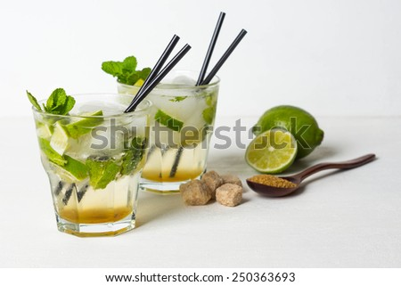 Fresh mojito drink on the white wooden table - stock photo