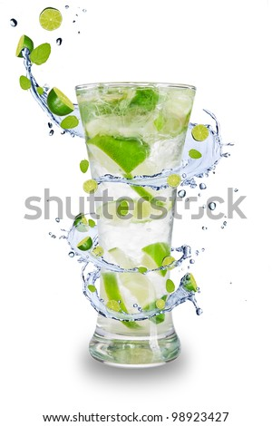 Fresh mojito drink with splash spiral around glass. Isolated on white background - stock photo