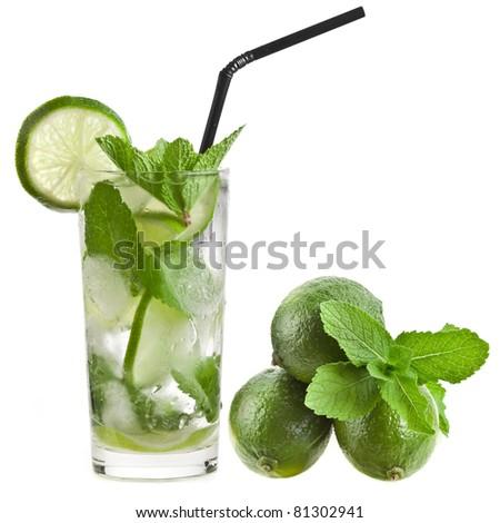 Fresh mojito isolated on white background - stock photo