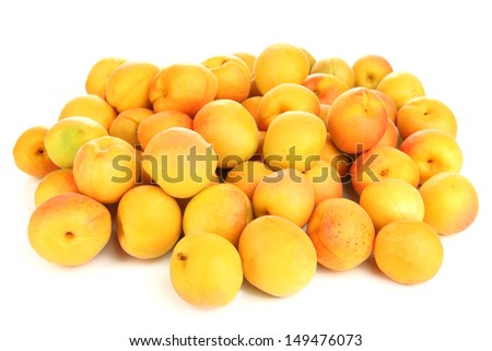 Fresh natural apricot isolated on white - stock photo