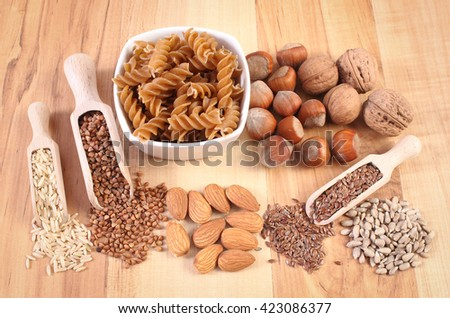 Fresh, natural ingredients and products containing magnesium and dietary fiber, healthy food and nutrition - stock photo