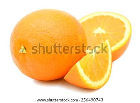 fresh natural orange fruits isolated on white  - stock photo