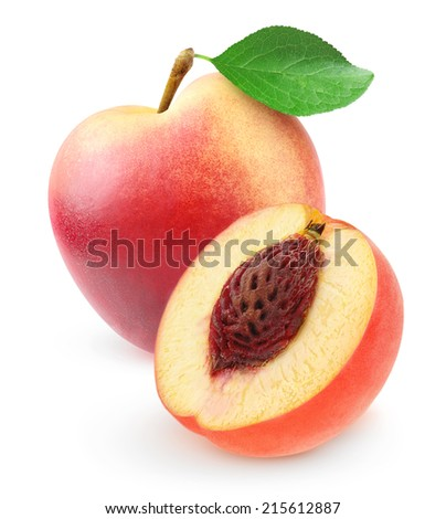Fresh nectarine peach, whole and cut, over white background, with clipping path - stock photo