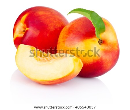 Fresh nectarines fruit isolated on white background - stock photo