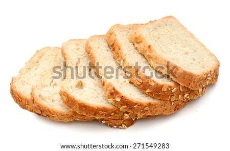 fresh oat bread slices on white background - stock photo