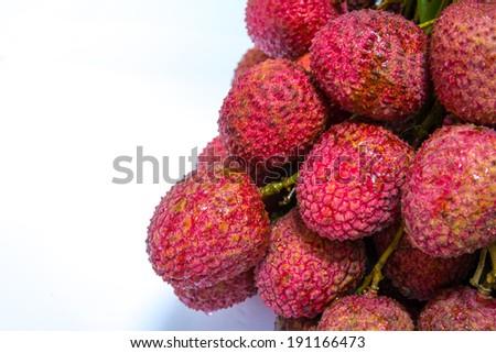 Fresh of litchi fruit on white background - stock photo