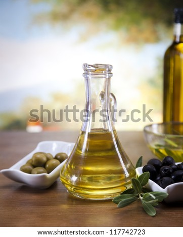 Fresh olives, olive oil - stock photo