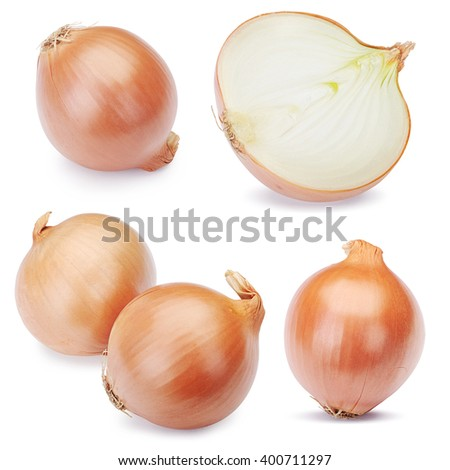 Fresh onion bulbs set isolated on white background. Clipping Path - stock photo
