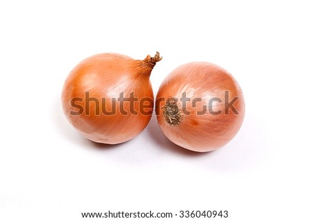 Fresh onions vegetables on white background. Arrangement of two ripe fresh onions isolated on white background. - stock photo