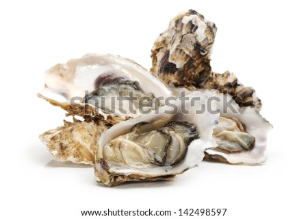 Fresh opened oyster on white background - stock photo