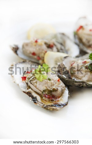 Fresh opened oysters - stock photo