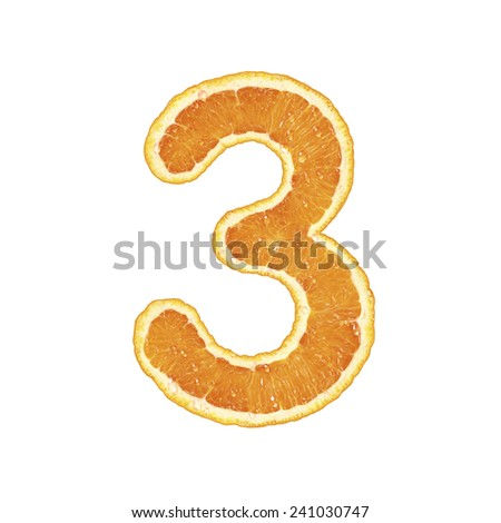 Fresh Orange alphabet (number 3)  - stock photo