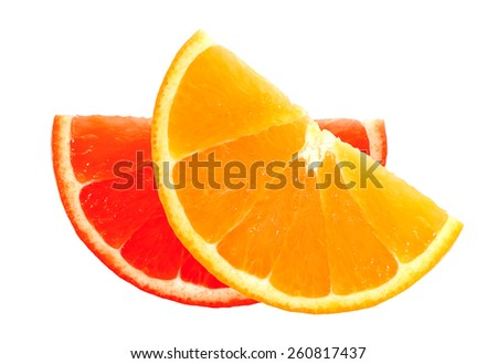 fresh orange and grapefruit slices isolated on white background - stock photo