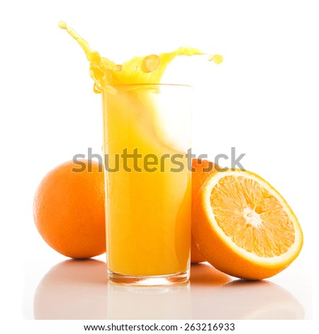 Fresh orange fruit and splash in glass isolated on white background - stock photo