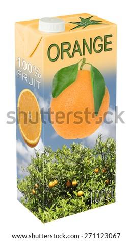 Fresh orange juice in beverage carton - stock photo