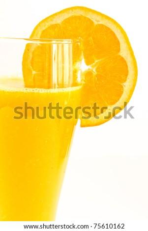 fresh orange juice isolated on a white background - stock photo