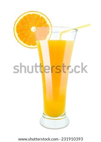 fresh orange juice isolated on white - stock photo