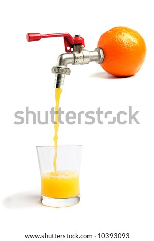 Fresh orange juice pouring straitght from the orange into a glass - stock photo