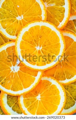 fresh orange, orange background, Slices of orange - stock photo