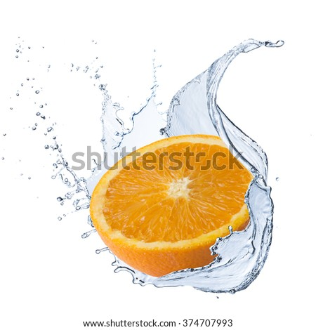 Fresh Orange With Water Splash - stock photo