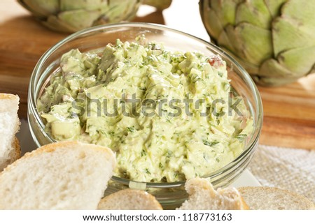 Fresh Organic Artichoke Dip with fresh Bread - stock photo