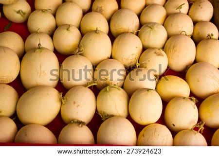 Fresh organic cantaloupes by farm - stock photo