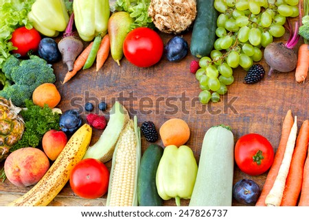 Fresh organic fruits and vegetables - healthy food - stock photo