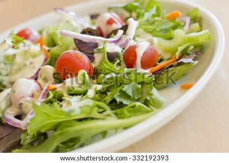 Fresh organic garden salad with creamy ranch dressing - stock photo