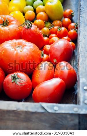 Fresh organic garden tomatoes in vintage wooden box - stock photo