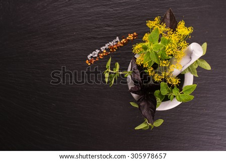 Fresh organic herbs: dill, oregano and basil in a marble mortar. Seasonings on black stone background. Selective focus. Top view - stock photo