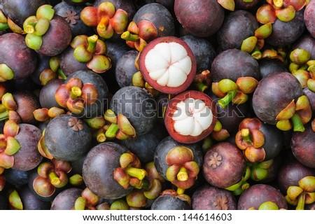 Fresh organic mangosteen Thai fruit in market thailand. - stock photo