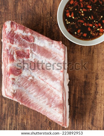 Fresh Organic Pork Belly. - stock photo