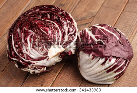Fresh organic Radicchio Lettuce, ready for eating and cooking - stock photo