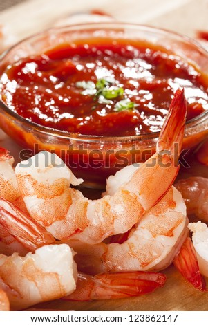 Fresh Organic Shrimp Cocktail with red sauce - stock photo
