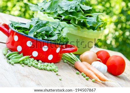 Fresh organic spinach and peas - stock photo