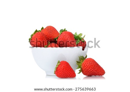 fresh organic strawberries in bowl isolated on white background - stock photo