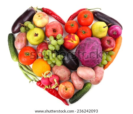 Fresh organic vegetables and fruits in shape of heart, isolated on white - stock photo